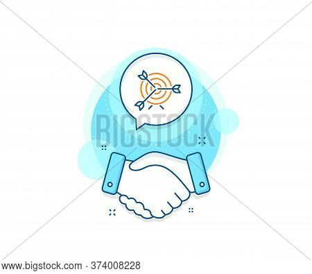 Marketing Targeting Strategy Symbol. Handshake Deal Complex Icon. Target Line Icon. Aim With Arrows
