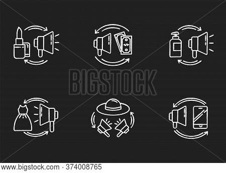 Promotion Chalk White Icons Set On Black Background. Barter As Digital Marketing Strategy. Buy Adver