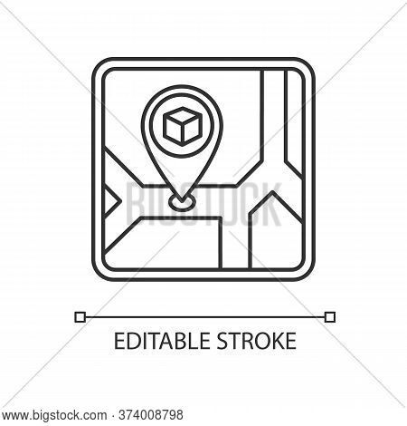 Storage Place Pixel Perfect Linear Icon. Warehouse Location, Storehouse Building Address. Thin Line
