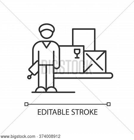 Storekeeper Pixel Perfect Linear Icon. Warehouse Worker. Storage And Storehouse Manager. Thin Line C