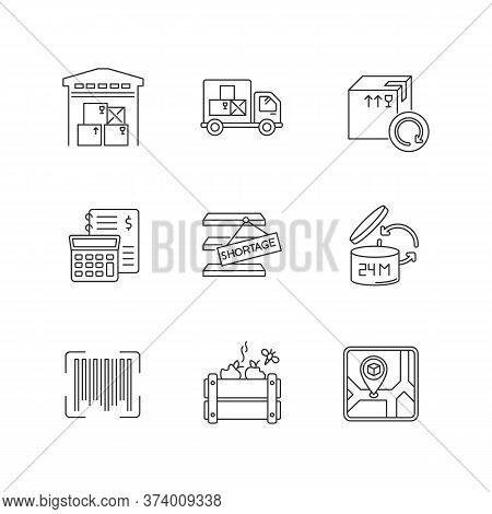 Inventory Management Pixel Perfect Linear Icons Set. Storage Place, Spoilage And Purchase Returns. C