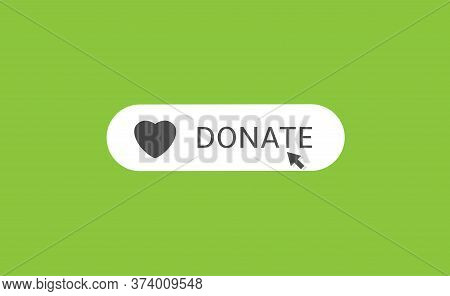 Voluntary And Donation Concept. Donate Button Icon. White Button With Black Heart Symbol On Green Ba