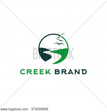 Creek Logo Simple River Vector In Green Color And Modern Style With Round Frame For Landscape Graphi