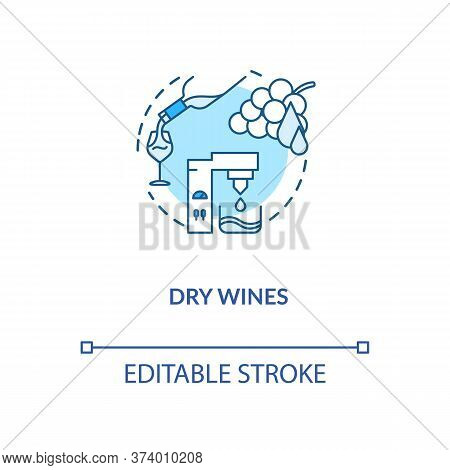 Dry Wines Concept Icon. Winetasting, Winemaking Idea Thin Line Illustration. Alcohol Drink With No R