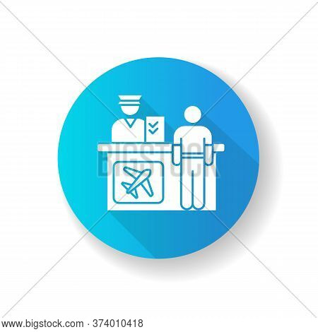 Airport Information Desk Blue Flat Design Long Shadow Glyph Icon. Registration Desk For Airplane Pas