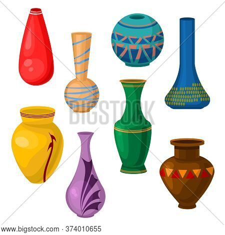 Cartoon Color Ceramic Vase Icon Set Include Of Different Type. Vector Illustration Of Pottery Vases