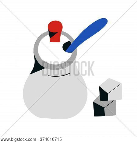 Sugar Bowl With Sugar Cubes, Ceramic Jar, Kitchen Utensil For Serving Tea Or Coffee, Isolated Vector