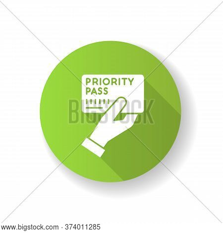 Priority Pass Green Flat Design Long Shadow Glyph Icon. Boarding Ticket For Airplane Flight. Vip Doc