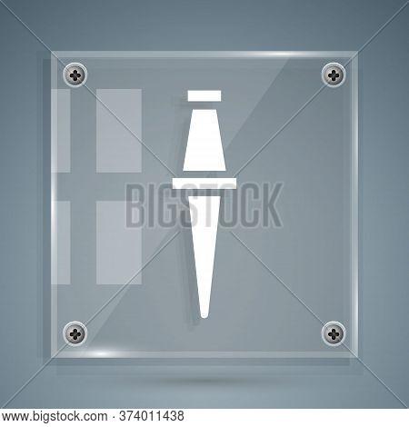 White Push Pin Icon Isolated On Grey Background. Thumbtacks Sign. Square Glass Panels. Vector Illust