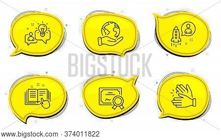 Clapping Hands Sign. Diploma Certificate, Save Planet Chat Bubbles. Startup, Idea And Technical Docu