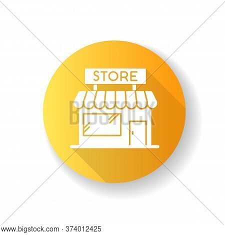 Convenience Store Yellow Flat Design Long Shadow Glyph Icon. Grocery Shop Exterior. Small Business I