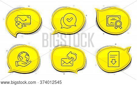 Approved Sign. Diploma Certificate, Save Planet Chat Bubbles. Share Mail, Computer Mouse And Downloa