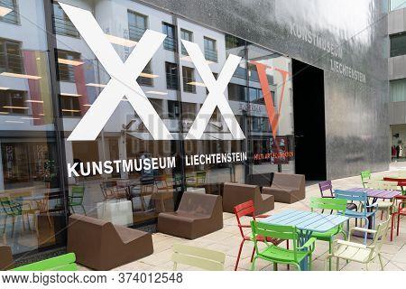 Vaduz, Fl / Liechtenstein - 16 June 2020: View Of The Art Museum In Vaduz In Liechtenstein