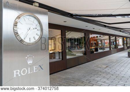 Vaduz, Fl / Liechtenstein - 16 June 2020: View Of The Rolex Store In Vaduz Capital Of Liechtenstein