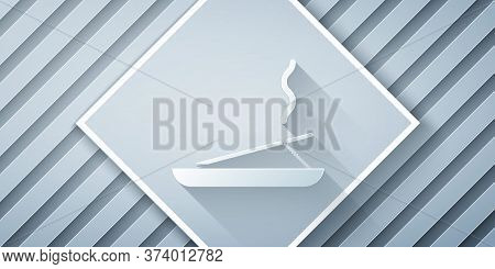 Paper Cut Scented Spa Stick On A Wooden Stand Icon Isolated On Grey Background. Incense Stick. Cosme