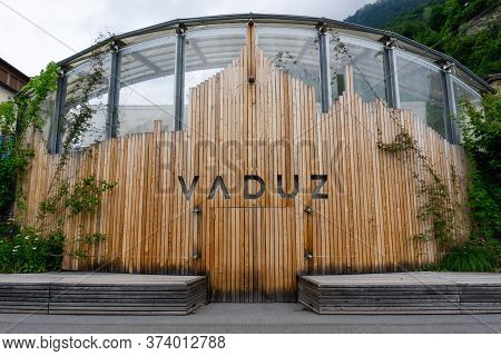 Vaduz, Fl / Liechtenstein - 16 June 2020: Wooden City Works Department With Vaduz Name Showing
