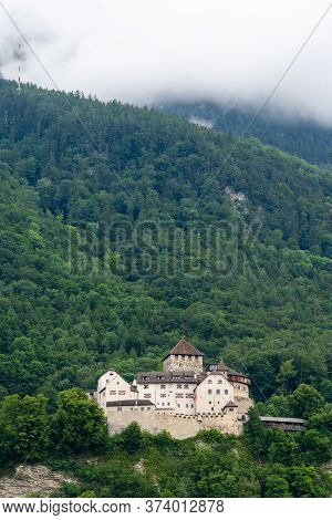 Vaduz, Fl / Liechtenstein - 16 June 2019: A View Of The Historic Vaduz Castle In Liechtenstein