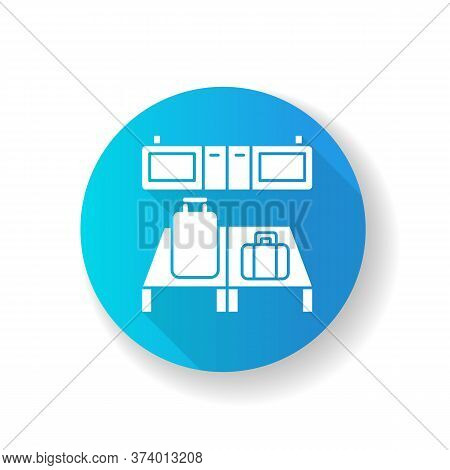 Baggage Custom Check Blue Flat Design Long Shadow Glyph Icon. Luggage On Desk In Airport Terminal. B