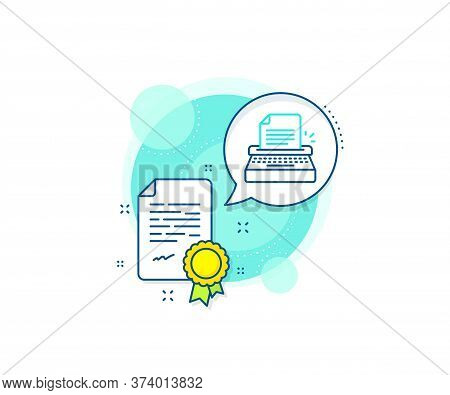 Copywriting Sign. Certification Complex Icon. Typewriter Line Icon. Writer Machine Symbol. Certifica