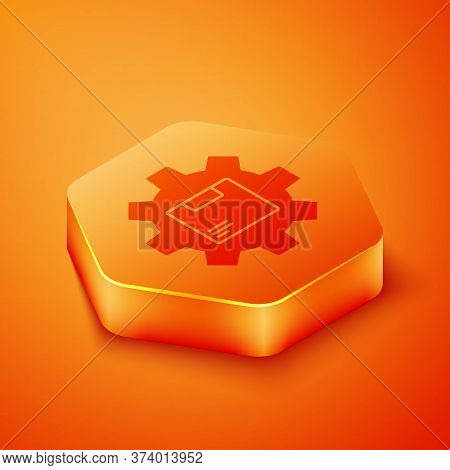 Isometric Gear Wheel With Package Box Icon Isolated On Orange Background. Box, Package, Parcel Sign.