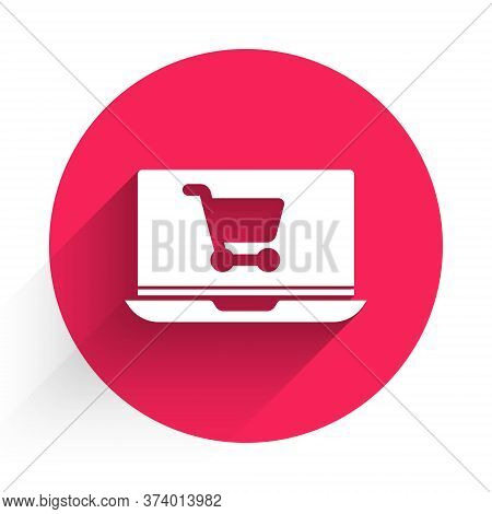 White Shopping Cart On Screen Laptop Icon Isolated With Long Shadow. Concept E-commerce, E-business,