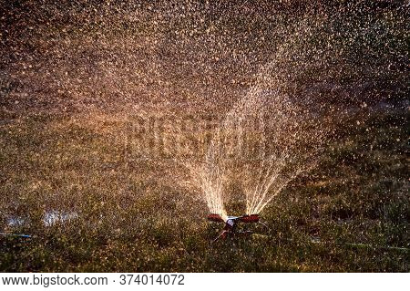 Sprinkler Is Watering The Grass And Flowers In The Park On A Sunny Day.