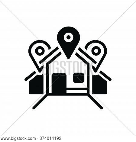 Black Solid Icon For Address Location Locale Place Resident Inhabitant House