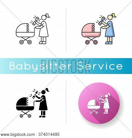 Newborn Experience Icon. Woman With Rattle Toy. Mother With Baby Stroller. Mom Go For Walk. Maternit
