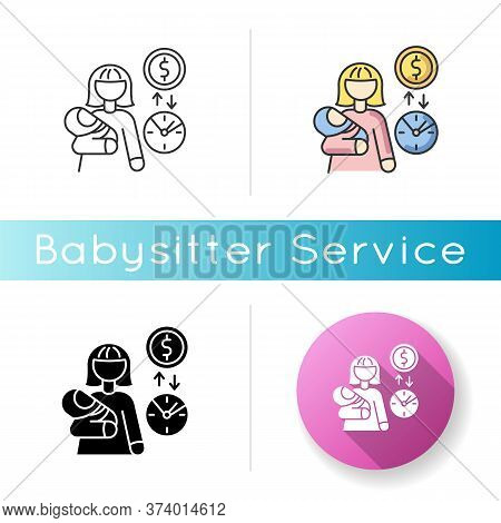Babysitter Pay Rate Icon. Income From Babysitting Services. Earn Money For Child Care. Woman With In