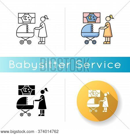 Night Time Nanny Icon. Mother With Baby In Stroller. Mom Look For Sleeping Kid. Parenthood And Mothe