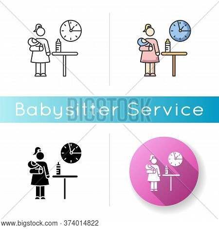 Part Time Babysitter Icon. Babysitting Service Worker. Girl Looking After Baby. Day Child Care. Help