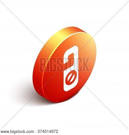 Isometric Please Do Not Disturb Icon Isolated On White Background. Hotel Door Hanger Tags. Orange Ci