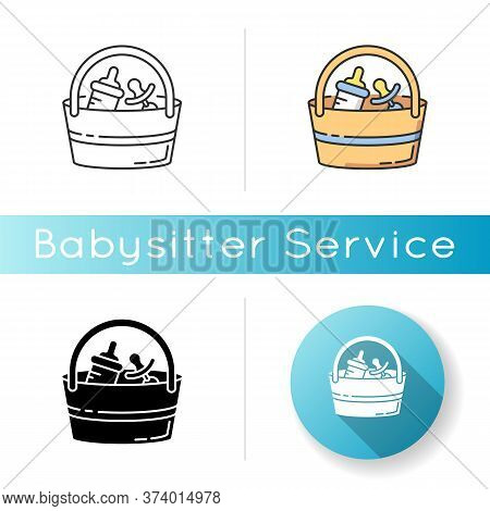 Babysitter Set Icon. Baby Pacifier. Bottle For Feeding Infant Child. Bag With Items For Child Care.