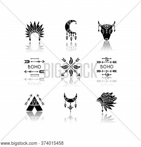 Native American Accessories Drop Shadow Black Glyph Icons Set. Tribe Chief Hat And Teepee. Boho Drea