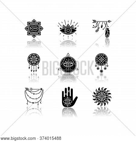 Magical Accessories In Boho Style Drop Shadow Black Glyph Icons Set. Prophecy And Occultism Amulets.