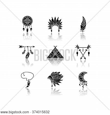 Native American Indian Accessories Drop Shadow Black Glyph Icons Set. Tribe Chief Hat And Teepee. Ne