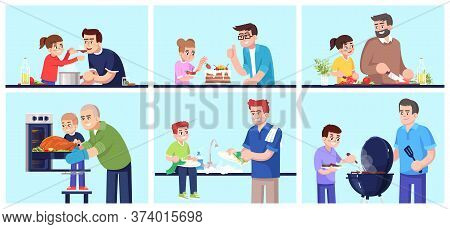 People Cooking Together, Fathers And Children Preparing Food Flat Vector Illustrations Set. Smiling