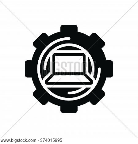 Black Solid Icon For Restore Return Repayment Reset Technology Laptop Repair
