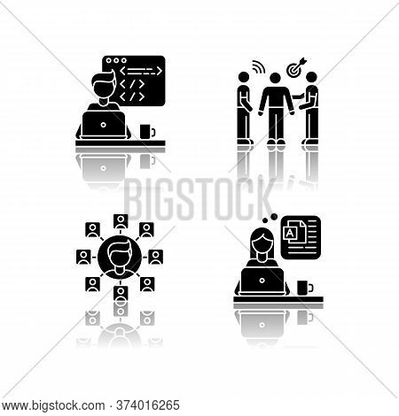 Distant Works Drop Shadow Black Glyph Icons Set. Web Developer, Public Relations Officer, Blogger An