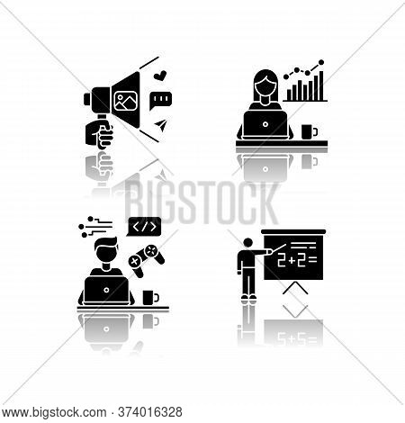 Freelance Professions Drop Shadow Black Glyph Icons Set. Marketologist And Social Media Coordinator,
