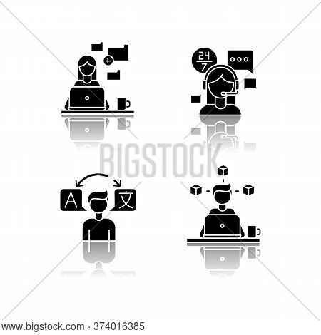 Freelance Professions, Data Entry Jobs Drop Shadow Black Glyph Icons Set. Interpretation, 3d Modelli