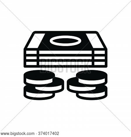Black Solid Icon For Cash Money Currency Penny Moolah Piles