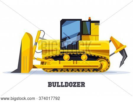 Bulldozer Digger Or Tractor In Flat, Yellow Truck
