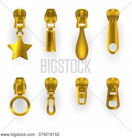 Zipper Pullers, Golden Zip Hasps, Different Shapes