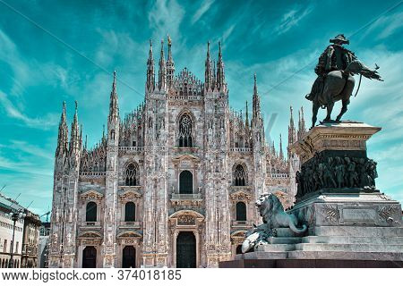 Duomo Di Milano (milan Cathedral) In Italy. Milan Cathedral Is The Largest Church In Italy And The T