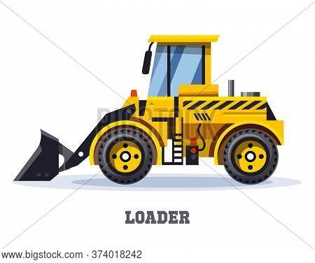 Loader Truck Or Bulldozer Tractor, Vector Icon