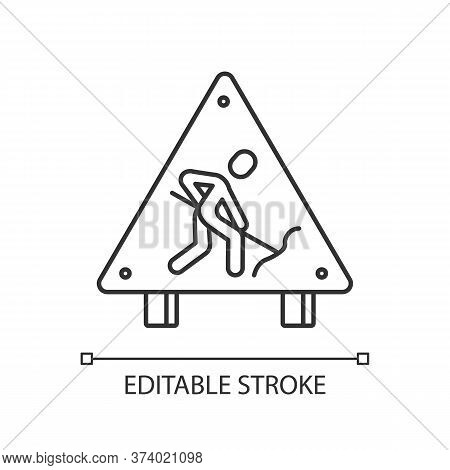 Roadsign Pixel Perfect Linear Icon. Road Works Ahead Sign. Man Digging With Shovel. Thin Line Custom