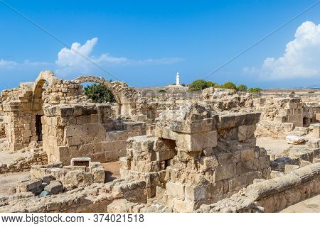 Saranta Kolones Castle Remains in Archaeological Park, Paphos, Cyprus.