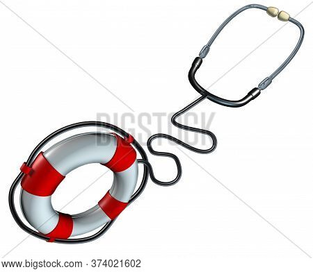 Medical Help Symbol And Health Care Insurance Iconas A Stethoscope Shaped As A Lifesaver Or Life Sav