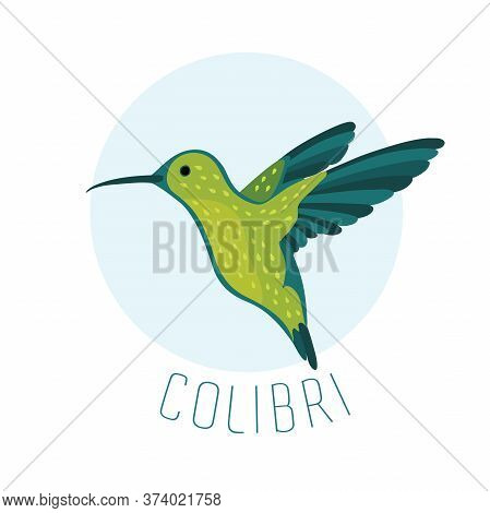 Vector Illustration Of Colibri Or Hummingbird On Blue.